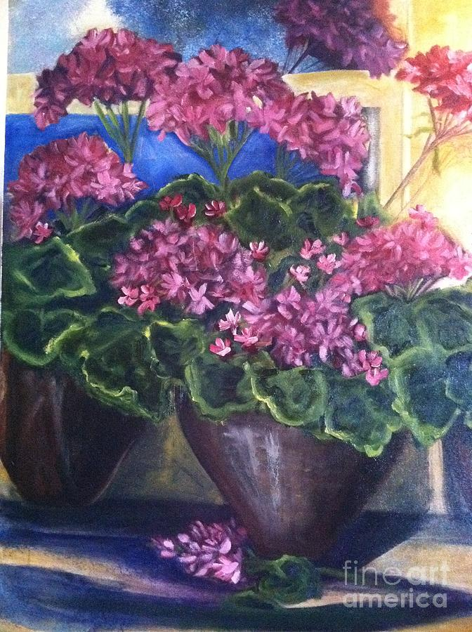 Orchards Painting - Geraniums Blooming by Sherry Harradence