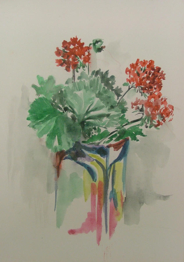 Geraniums In Vase Painting