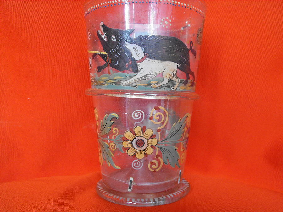 German Hand Blown Beaker Decorated With Enamel And Dated 1683 Glass Art