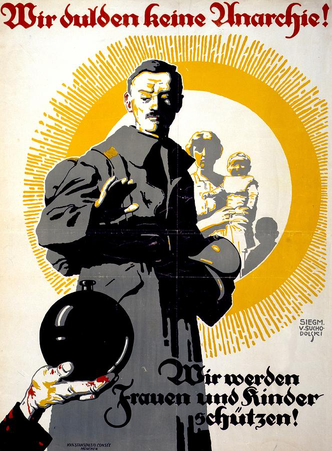 German Political Poster Shows A Soldier Standing In Front Of A Woman And Her Children Drawing  - German Political Poster Shows A Soldier Standing In Front Of A Woman And Her Children Fine Art Print