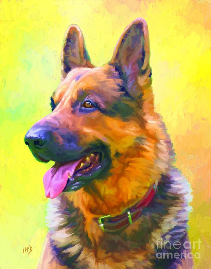 German Shepherd Portrait Painting