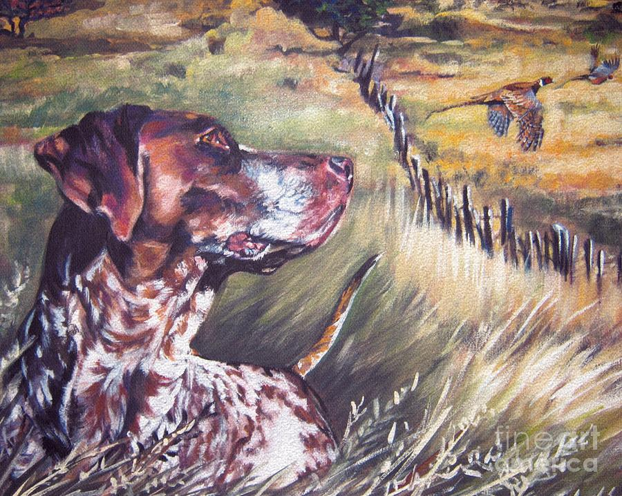 German Shorthaired Pointer And Pheasants Painting