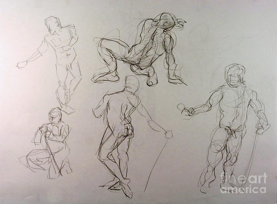 Andy Gordon Drawing - Gestures Of A Man by Andy Gordon