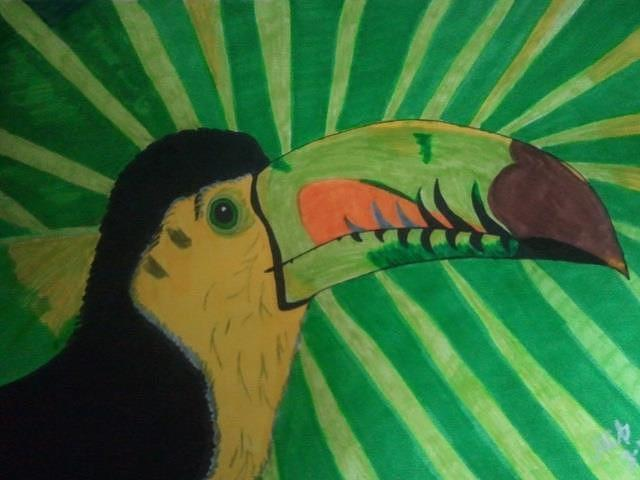 Toucan Drawing - Getting Some Sun by Marcia Brownridge
