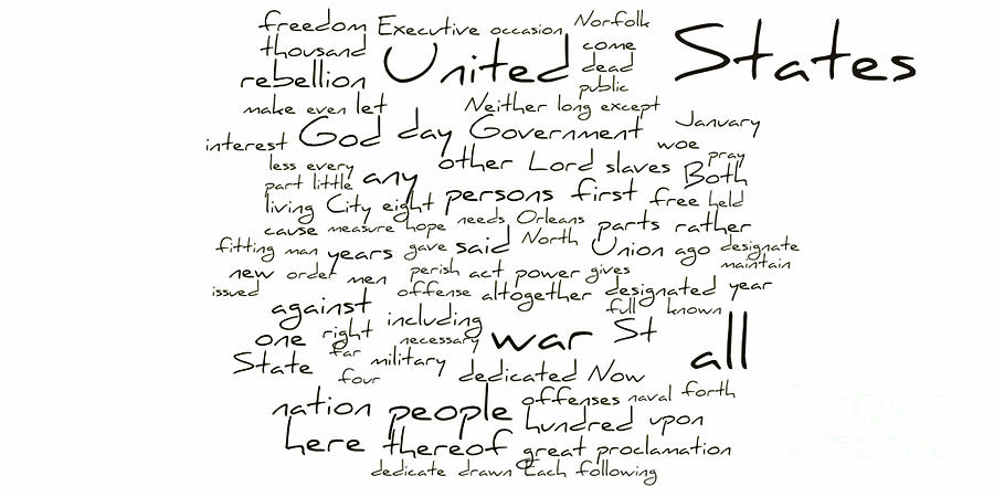 Gettysburg Address-emancipation Proclamation-second Inaugural Address-word Cloud Photograph