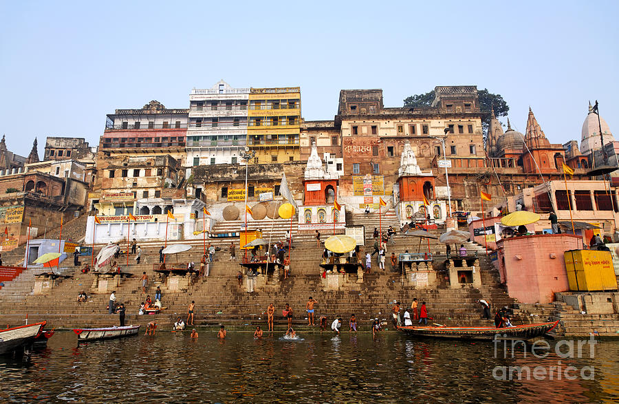 Ghats In The River Ganges At Varanasi In India Photograph