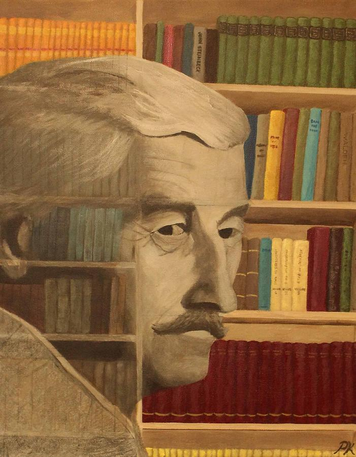Ghost In The Library  William Faulkner Painting  - Ghost In The Library  William Faulkner Fine Art Print