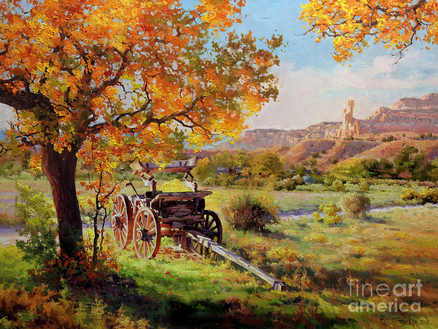 Ghost Ranch Old Wagon Painting  - Ghost Ranch Old Wagon Fine Art Print