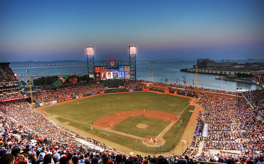Giants Stadium Photograph - Giants Ballpark At Night by Shawn Everhart