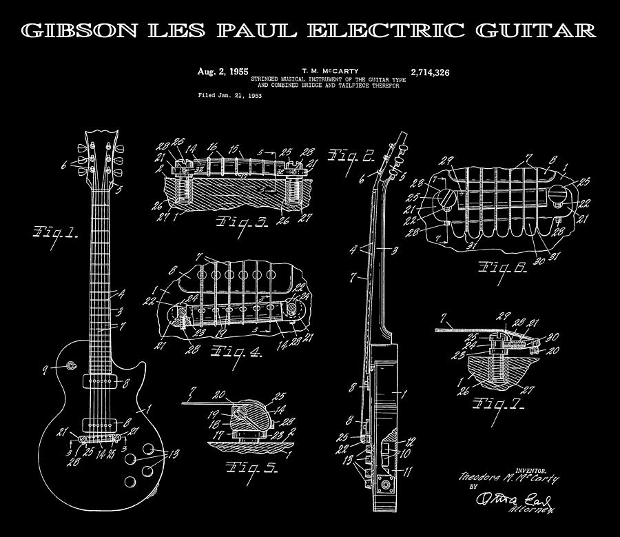 guitar Patents Digital Art - Gibson Les Paul Guitar 2 Patent Art 1955 ...