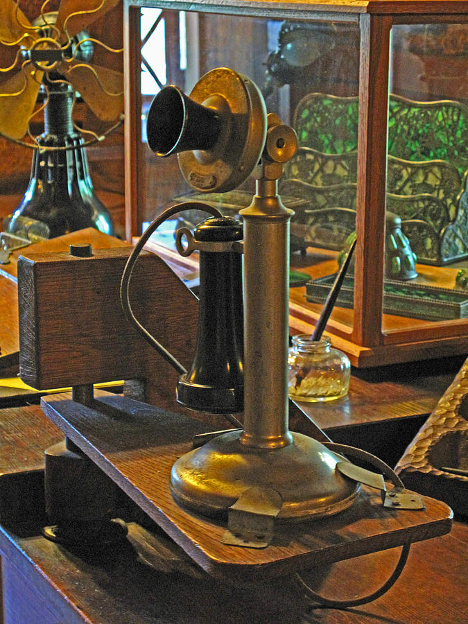 Antiques Photograph - Gillettes Phone And Fan by Barbara McDevitt