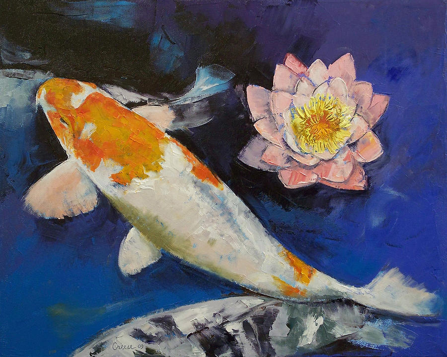 Gin rin koi and water lily painting by michael creese for Michael koi pond