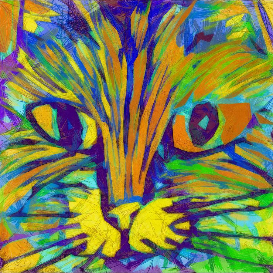 Modern Drawing - Ginger Kitty by Michelle Calkins