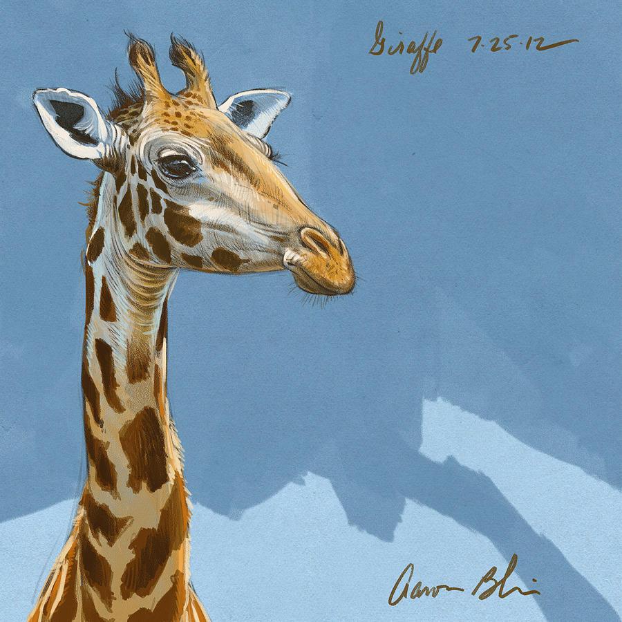 Giraffe Digital Art by Aaron Blaise