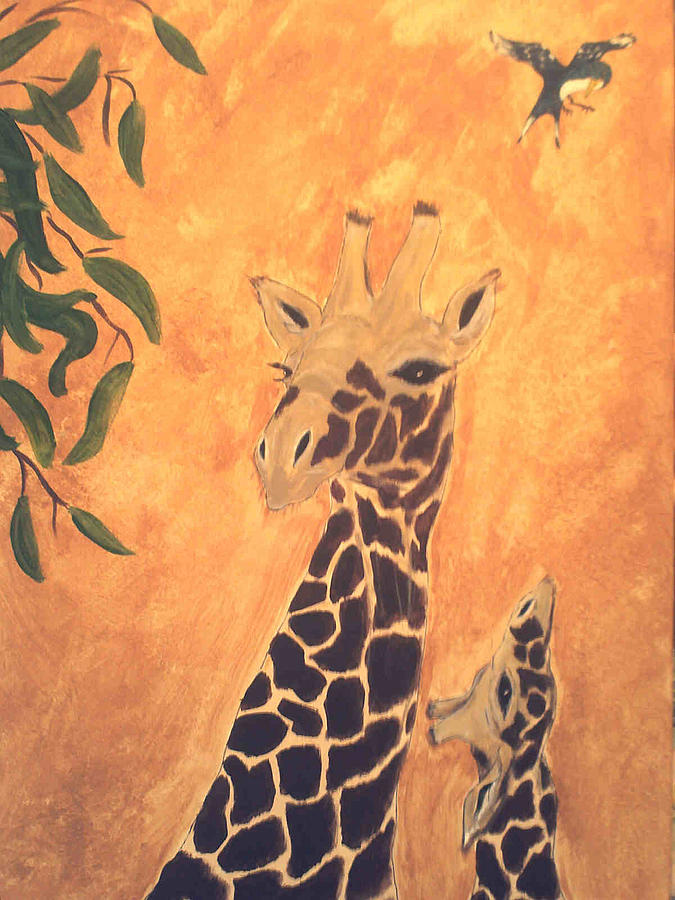 Giraffe And Young Painting  - Giraffe And Young Fine Art Print
