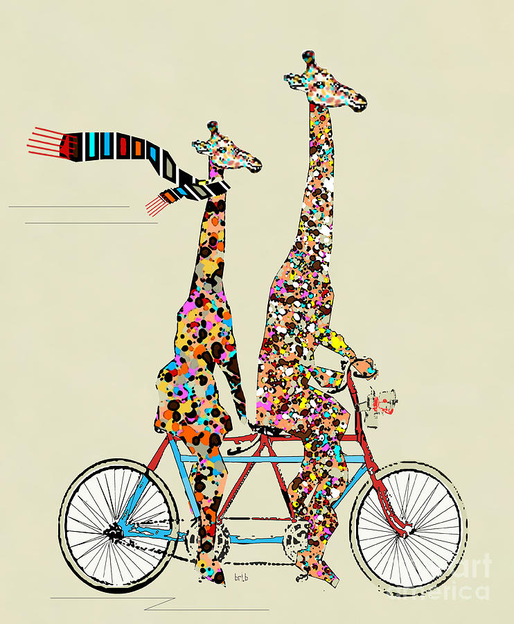 Giraffe Days Lets Tandem Painting  - Giraffe Days Lets Tandem Fine Art Print