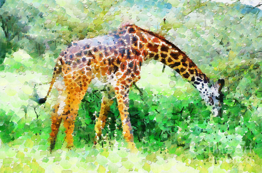 Africa Painting - Giraffe Eating Grass Painting by George Fedin and Magomed Magomedagaev