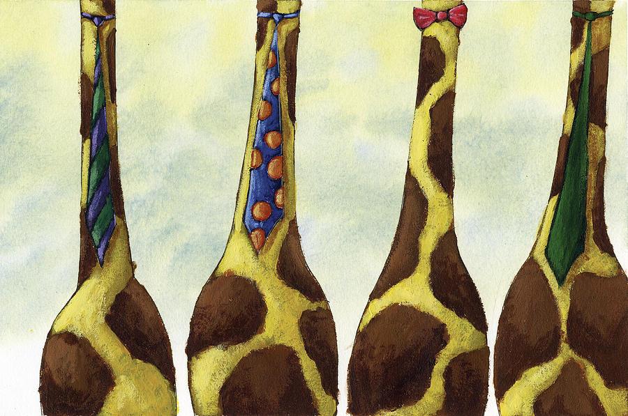 Giraffe Neckties Painting