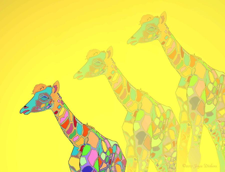 Giraffe Photograph - Giraffe X 3 - Yellow - The Card by Joyce Dickens