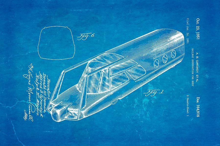 Girardy Railway Observation Car Patent Art 1951 Blueprint Photograph