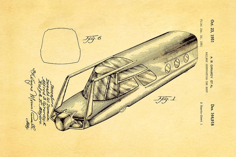 Girardy Railway Observation Car Patent Art 1951 Photograph