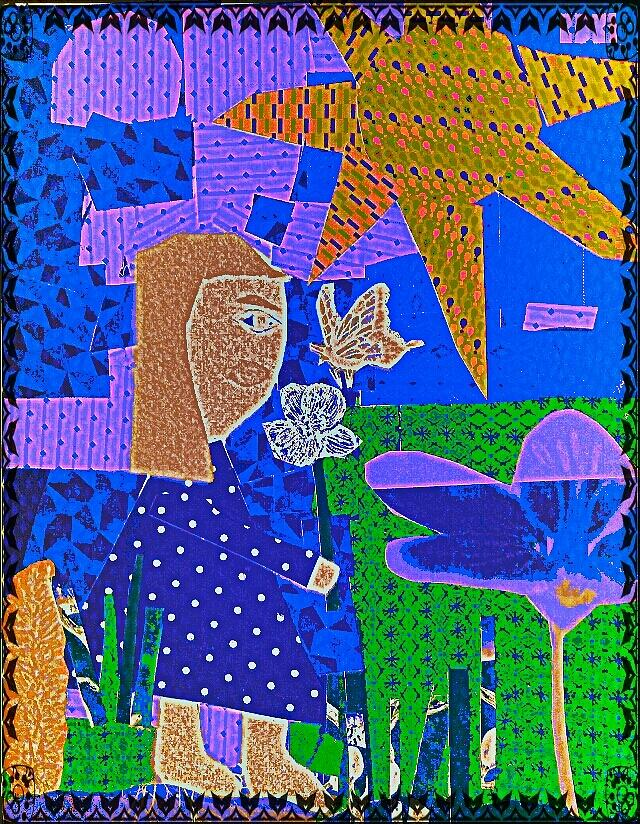 Girl And Her Garden Mixed Media