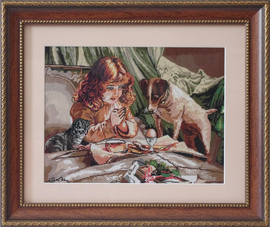 Girl And Puppy Hand-made Cross Stitched On Canvas Tapestry - Textile - Girl And Puppy by Ursu Camelia