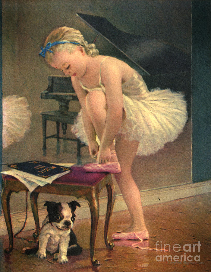 Girl Ballet Dancer Ties Her Slipper With Boston Terrier Dog Digital Art