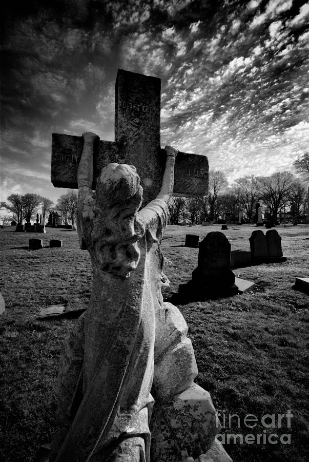 Girl Clings To Cross Allegheny Cemetery  Photograph