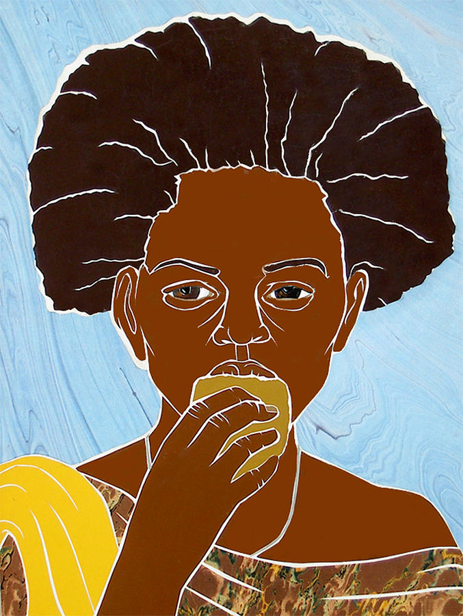 Girl Eating Mango Mixed Media  - Girl Eating Mango Fine Art Print