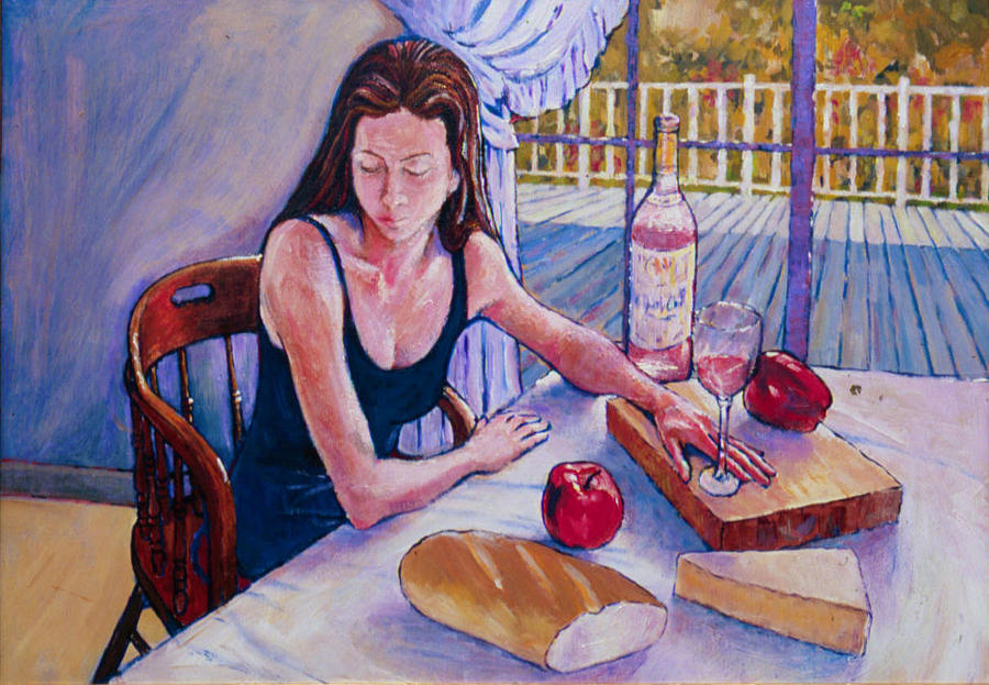 Girl Having Lunch At Montlake Painting  - Girl Having Lunch At Montlake Fine Art Print