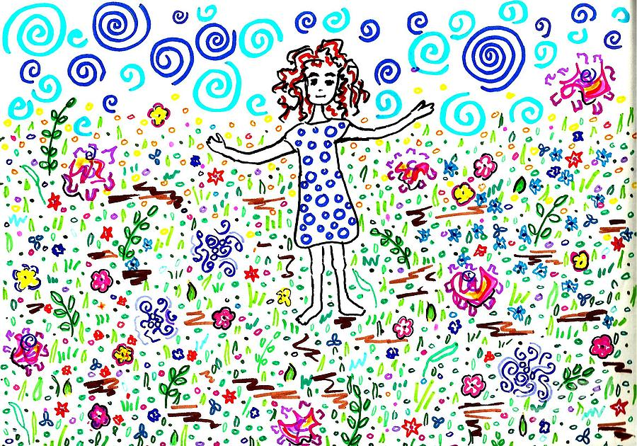 Girl In A Field Drawing  - Girl In A Field Fine Art Print