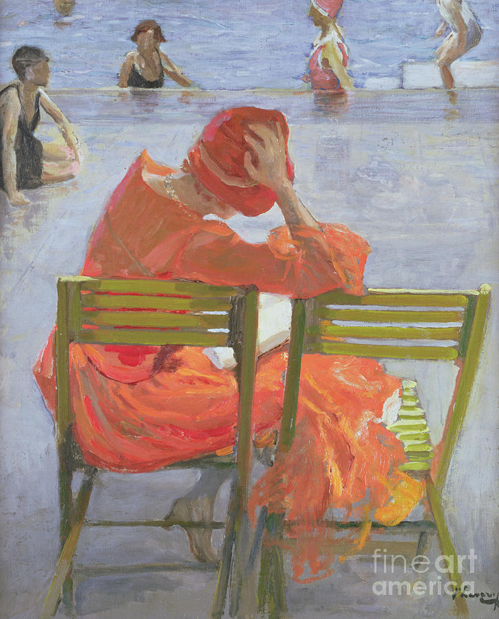 Girl In A Red Dress Reading By A Swimming Pool Painting