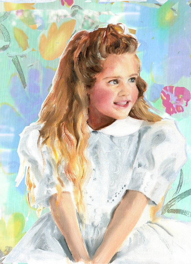 Girl In A White Lace Dress Painting