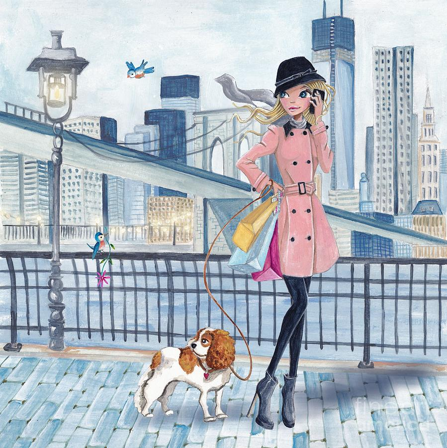 Cartita Design Mixed Media - Girl In New York by Caroline Bonne-Muller