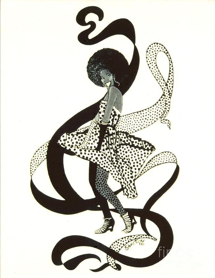 Girl In Polkadot Dress Drawing