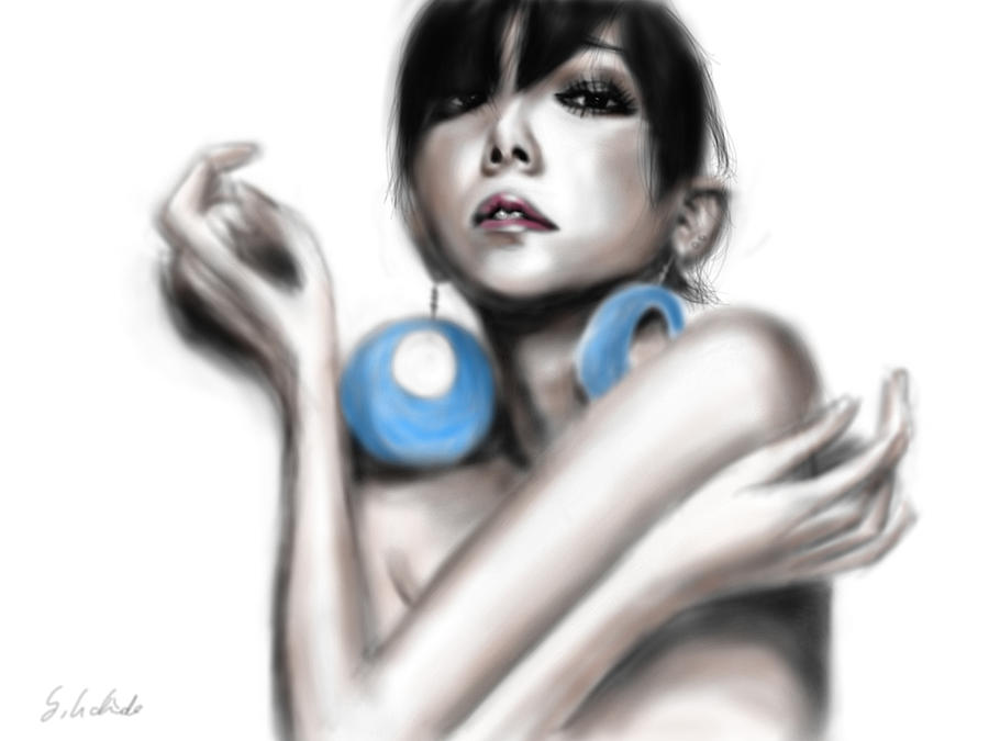 Ipad Painting - Girl No.45 by Yoshiyuki Uchida