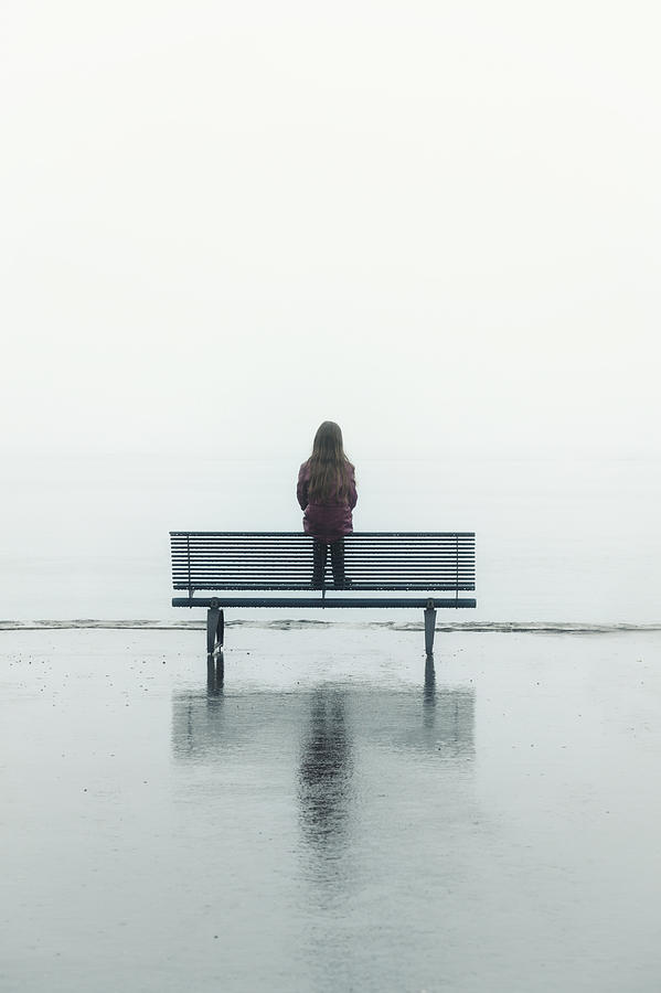 Female Photograph - Girl On A Bench by Joana Kruse