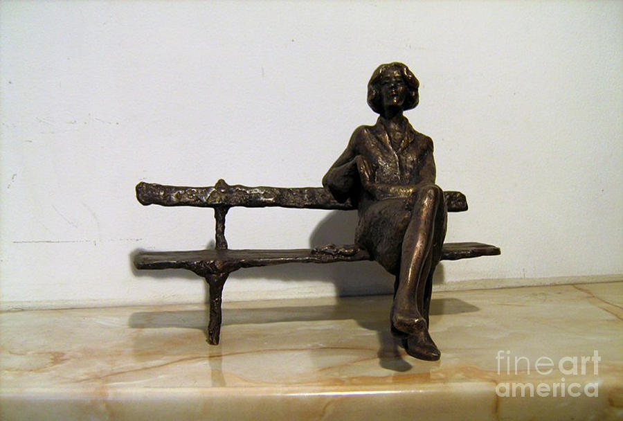 Girl On Bench Sculpture  - Girl On Bench Fine Art Print