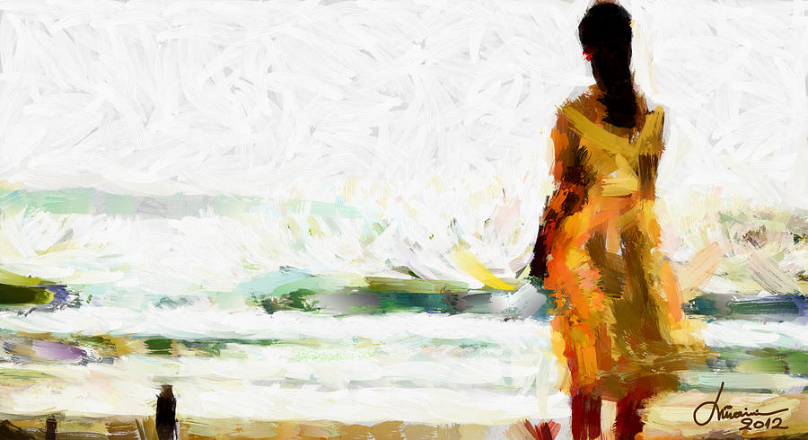 Girl Digital Art - Girl On The Beach Tnm by Vincent DiNovici