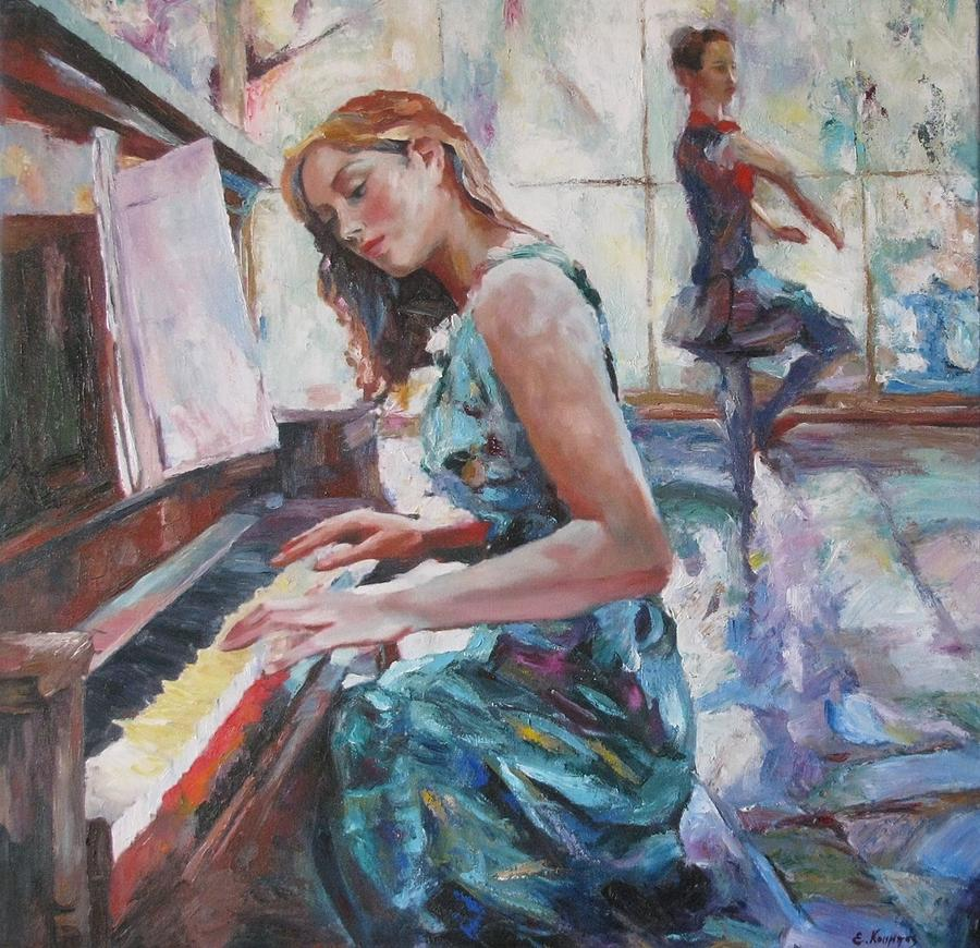 Girl Playing Piano Painting by Evangelos Koumbis