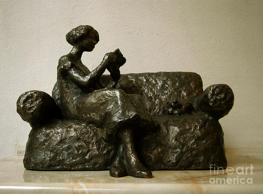 Nikola Litchkov Sculpture - Girl Reading A Letter by Nikola Litchkov