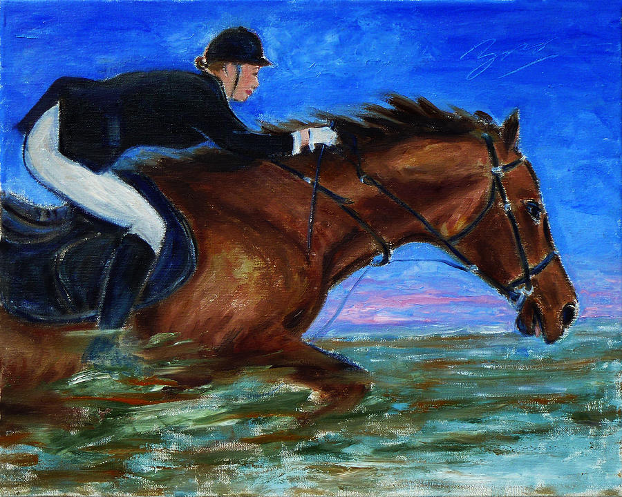 Girl Riding Her Horse II Painting