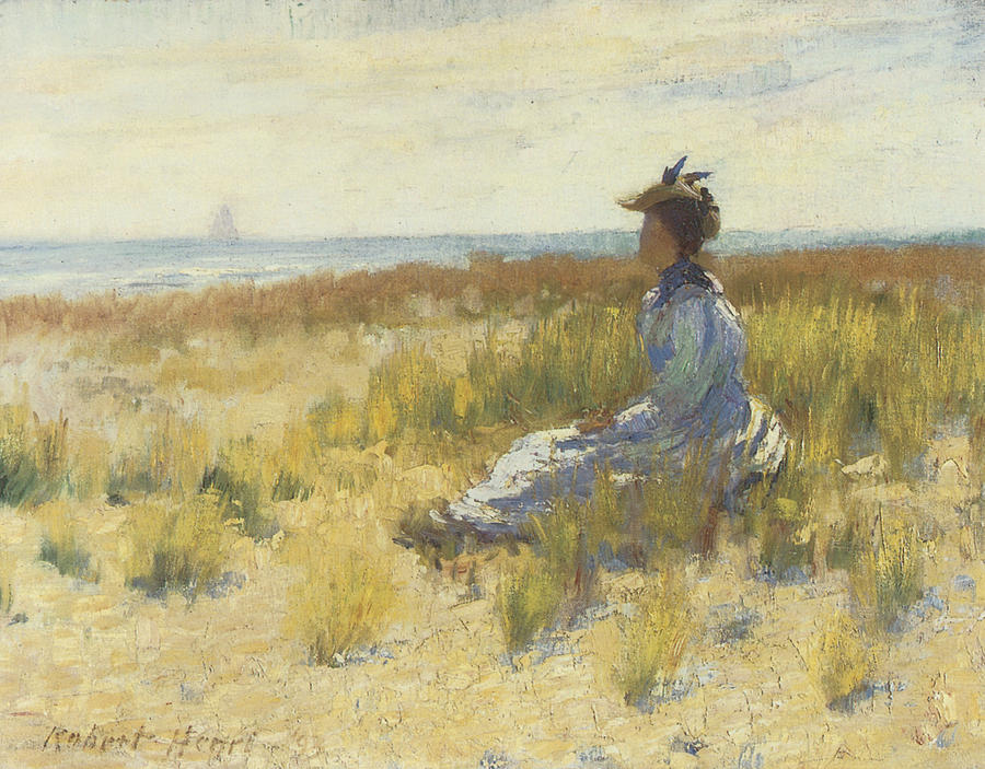 Girl Seated By The Sea Painting