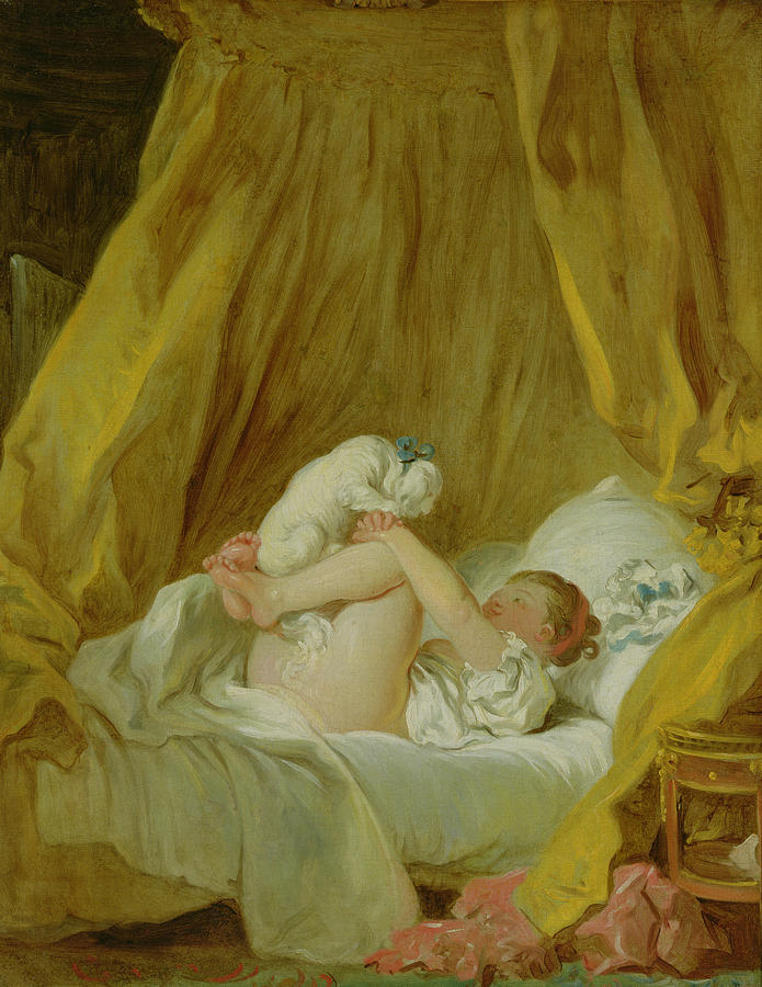 Bed Painting - Girl With A Dog by Jean Honore Fragonard