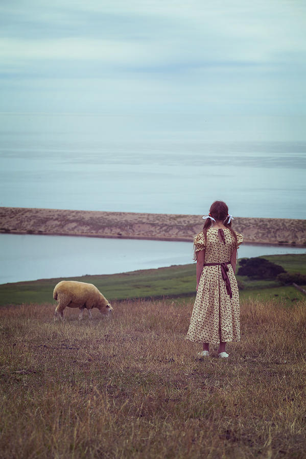 Girl With A Sheep Photograph  - Girl With A Sheep Fine Art Print