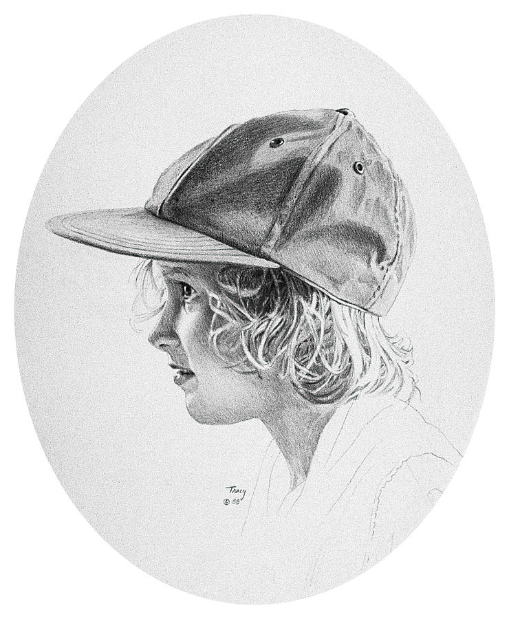 Girl With Baseball Cap Drawing  - Girl With Baseball Cap Fine Art Print