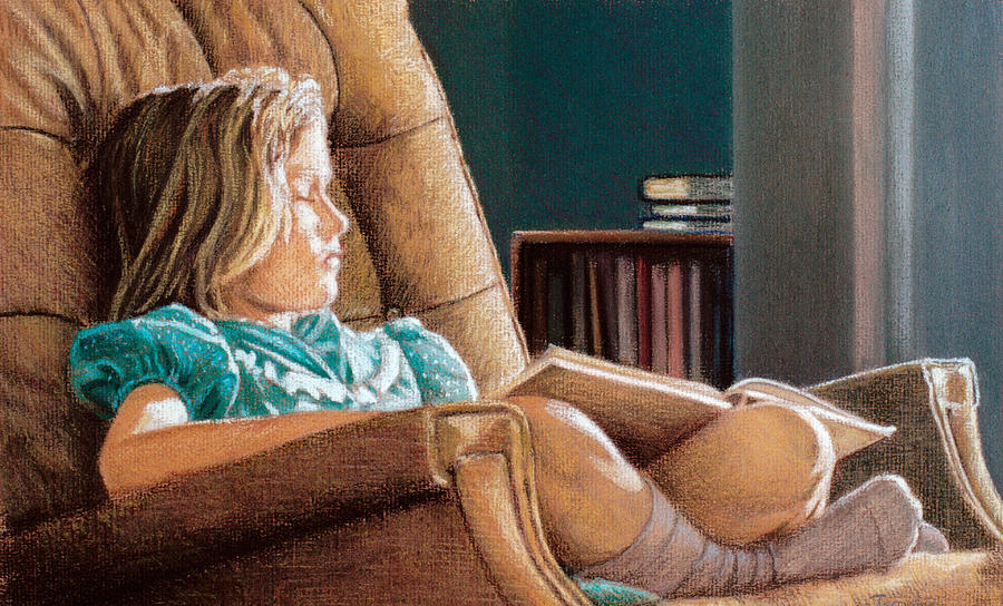 Girl With Book Pastel
