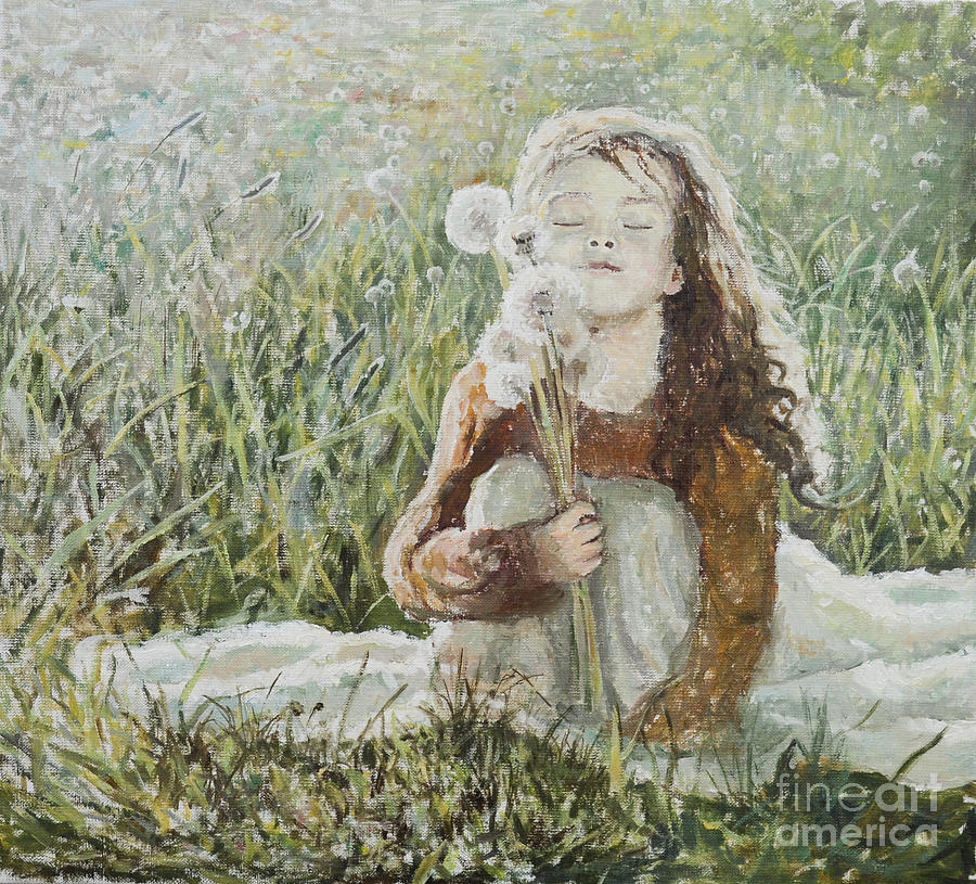 Girl With Dandelions Painting