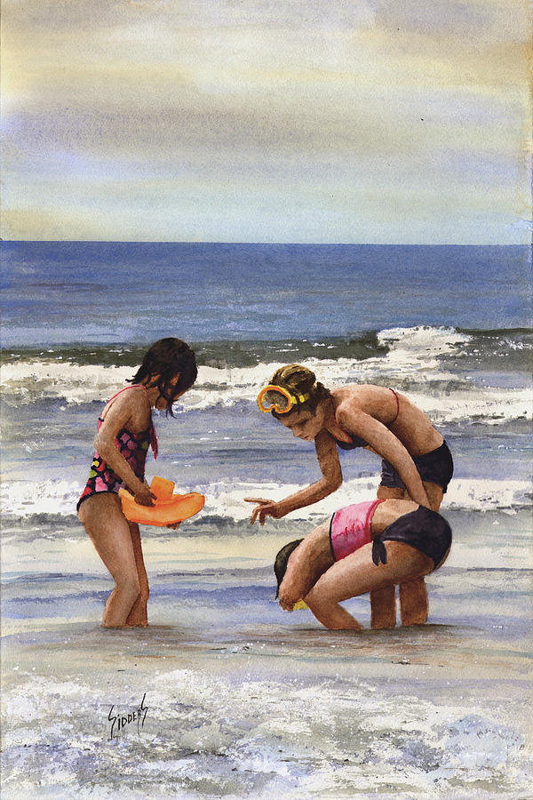 Girls At The Beach Painting  - Girls At The Beach Fine Art Print